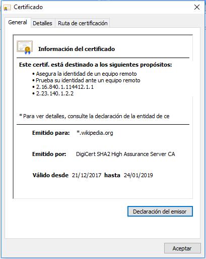 Informació Certificat HTTPS Wikipedia